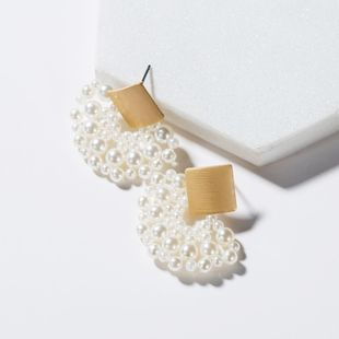 Simple temperament fan-shaped acrylic imitated crystal imitation beads earrings NHJE129498's discount tags