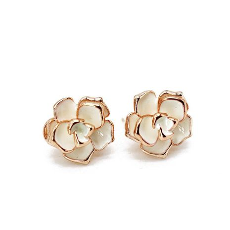 Fashion fairy white flower alloy needle stud earrings NHOM129502's discount tags