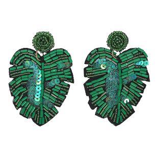 Summer cool leaf-shaped handmade rice beads earrings NHJQ129508's discount tags