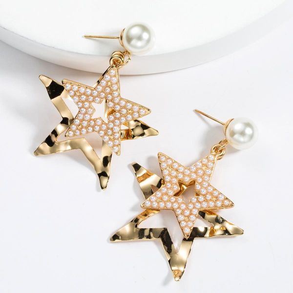 Fashion exaggerated multi-layer alloy five-pointed star with beads earrings NHJE129507