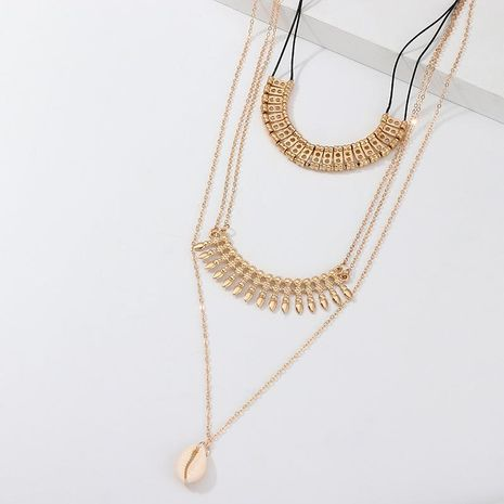 Fashion ethnic style alloy fringed shell necklace multi-layer pendant NHNZ129516's discount tags