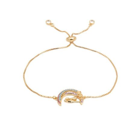 Color zircon adjustable moon couple bracelet NHYL129519's discount tags