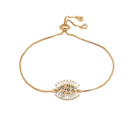 Luxurious color zircon adjustable devil eye bracelet NHYL129520's discount tags