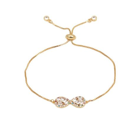 Luxurious color zircon adjustable infinity bracelet NHYL129523's discount tags