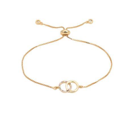 Korean luxury color zircon adjustable double ring bracelet NHYL129528's discount tags