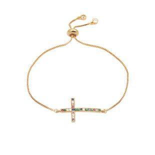 Stylish luxury color zircon adjustable cross bracelet NHYL129529's discount tags