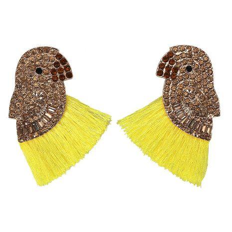 Creative ethnic style full of rhinestone parrot tassel earrings NHJQ129530's discount tags