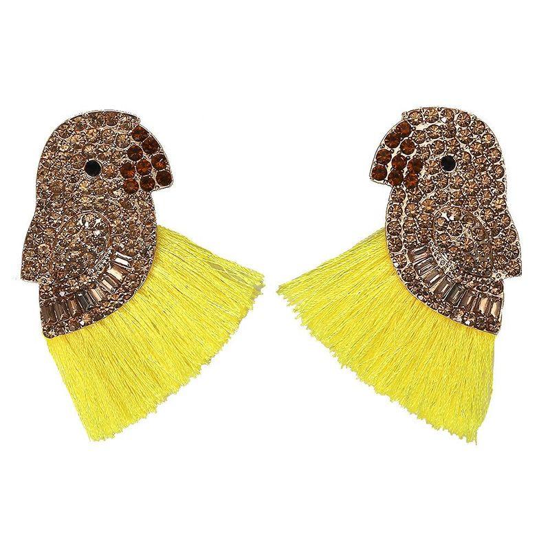 Creative ethnic style full of rhinestone parrot tassel earrings NHJQ129530