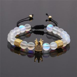 Micro-inlaid zircon hexagonal column pull-woven woven crown bracelet NHYL129533's discount tags
