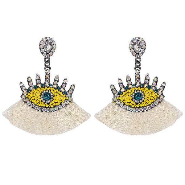 Fashion Rhinestone Beaded Tassel Earrings NHJQ129535