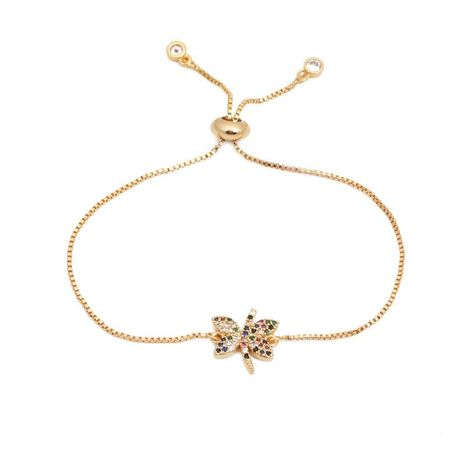 Stylish luxury color zircon adjustable insect butterfly bracelet NHYL129538's discount tags