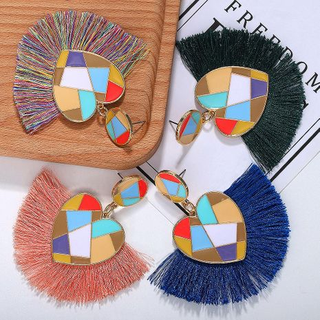 Colored alloy love line tassel earrings NHJQ129541's discount tags