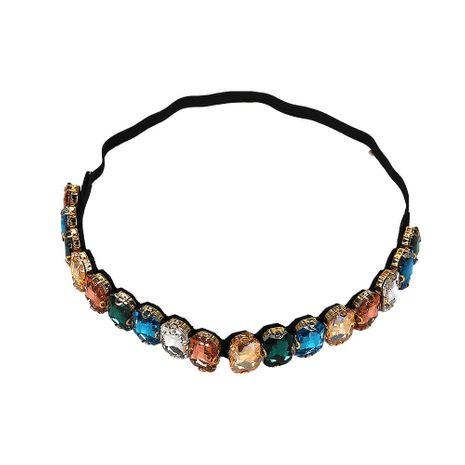 Fashion trend big gemstone rhinestone hair band with necklace NHJQ129546's discount tags