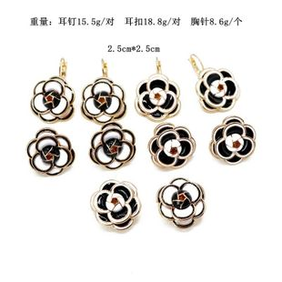 Black and white ear clips anti-lighting flowers drip oil pins NHOM129552's discount tags