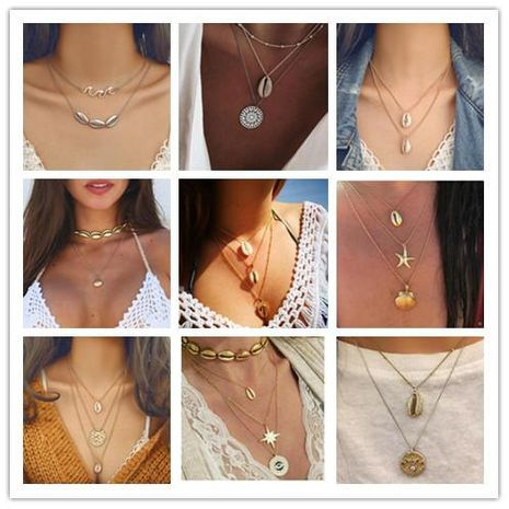 Fashion wavy round eye shell multi-layer alloy necklace NHGY129556's discount tags