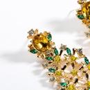 Fashion multilayer acrylic rhinestone flower alloy earrings NHJE129364