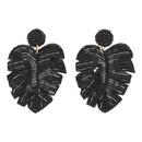 Summer cool leafshaped handmade rice beads earrings NHJQ129508