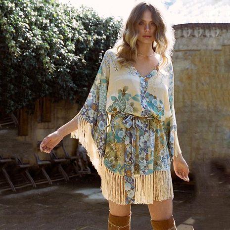 Falda con cuello en V con flecos y mangas con cordones NHDF129568's discount tags