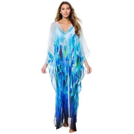Vestido largo holgado de gasa con estampado de hojas maxi vestido NHXW129569's discount tags