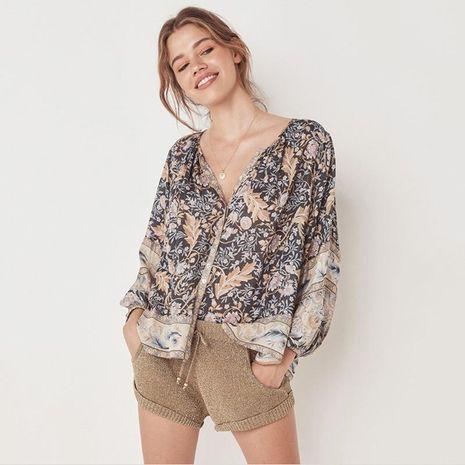 Blusa holgada con estampado boho camisa de manga larga con cuello en V NHDF129654's discount tags