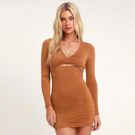 Vestido delgado con manga larga, caqui, manga larga, vestido sexy. NHDF129695's discount tags