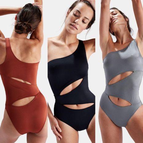 Bikini sexy fresco delgado de un hombro de color liso NHHL129739's discount tags