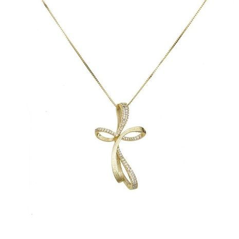 South American imitation ribbon set with zircon cross necklace NHBP129800's discount tags