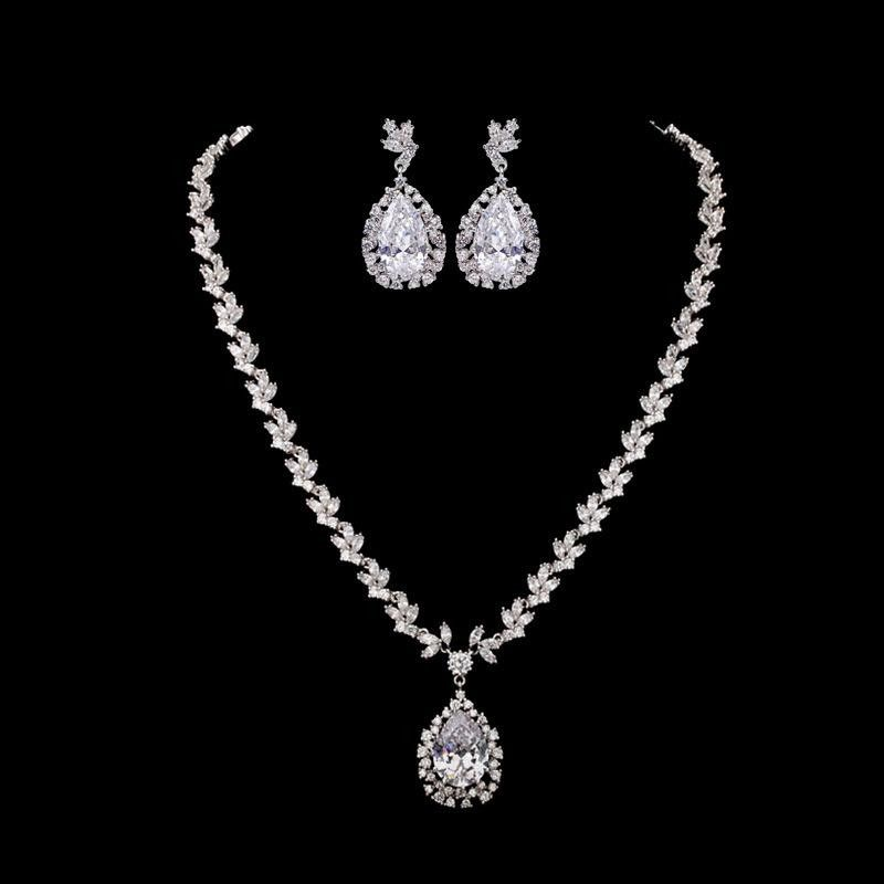 Womens Electroplated Copper and Zircons Jewelry Sets NHTM129854