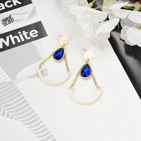 Creative Elliptical Geometric Blue Imitated crystal Acetate Alloy Earrings NHXS129864's discount tags