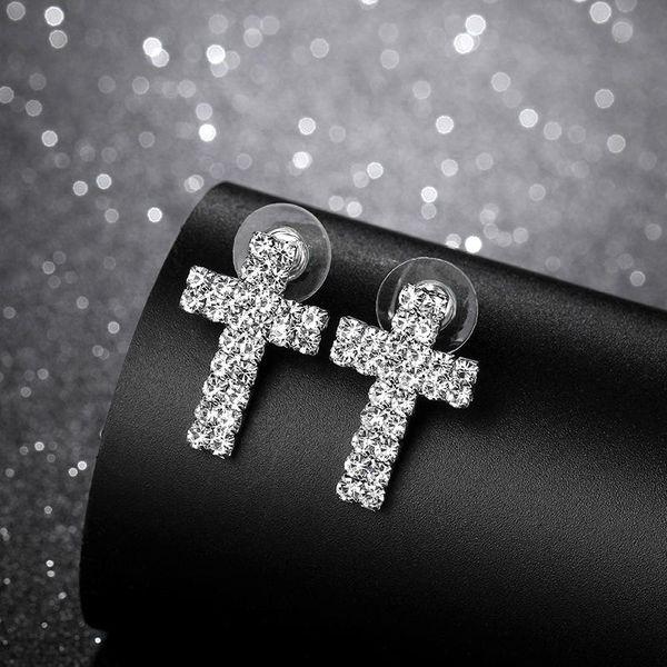 Korean rhinestone cross cute earrings NHIM129890