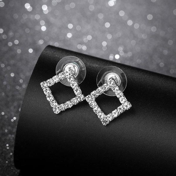 Korean rhinestone square 925 alloy earrings NHIM129894