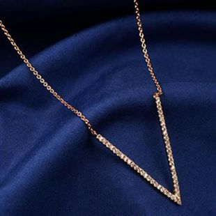 Womens V-shaped rhinestone-alloy alloy Necklaces NHLJ129899's discount tags
