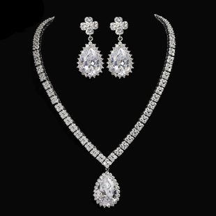 Womens Electroplated Copper and Zircons Jewelry Sets NHTM129920's discount tags