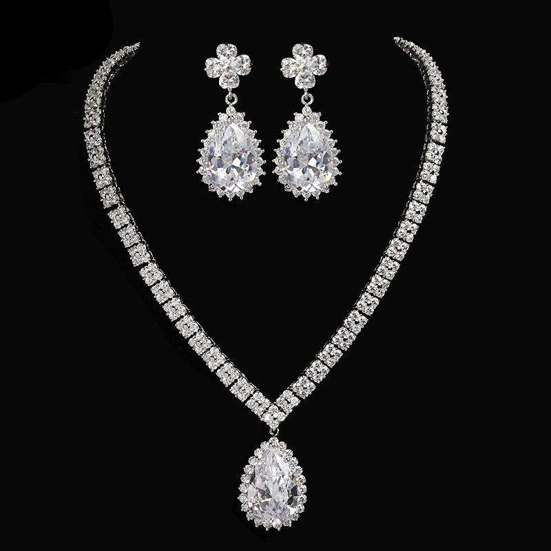Womens Electroplated Copper and Zircons Jewelry Sets NHTM129920