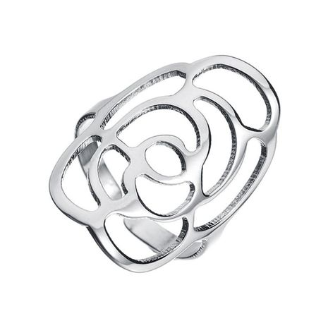 Stainless steel openwork rose opening ring NHHF129933's discount tags