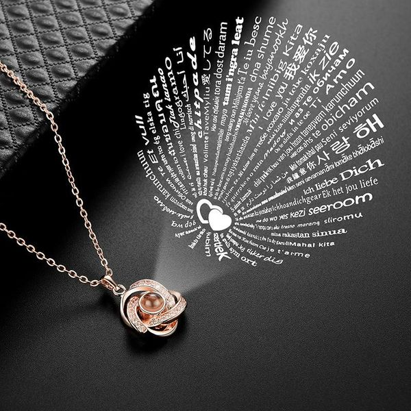 Simple creative new love memory projection necklace NHXS129939