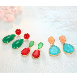 Color imitation natural stone long earrings NHGO129951's discount tags