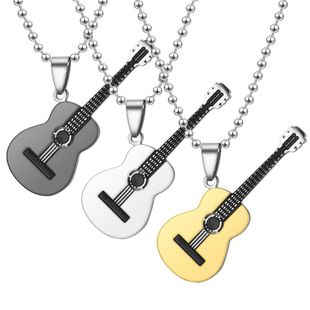 Hot music guitar fashion couple necklace NHTP129973's discount tags