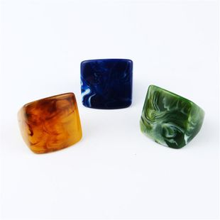 Exaggerated vintage natural stone square ring NHGO129976's discount tags