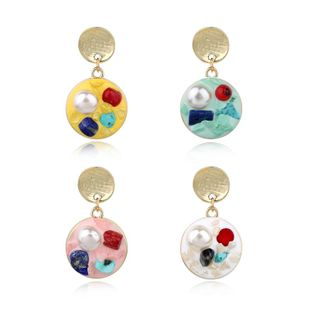 Simple wild earrings beads oil painting round earrings NHGO129995's discount tags