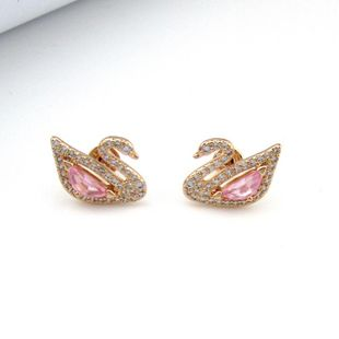 New Pink Imitated crystal Little Swan Temperament Set NHLJ130020's discount tags