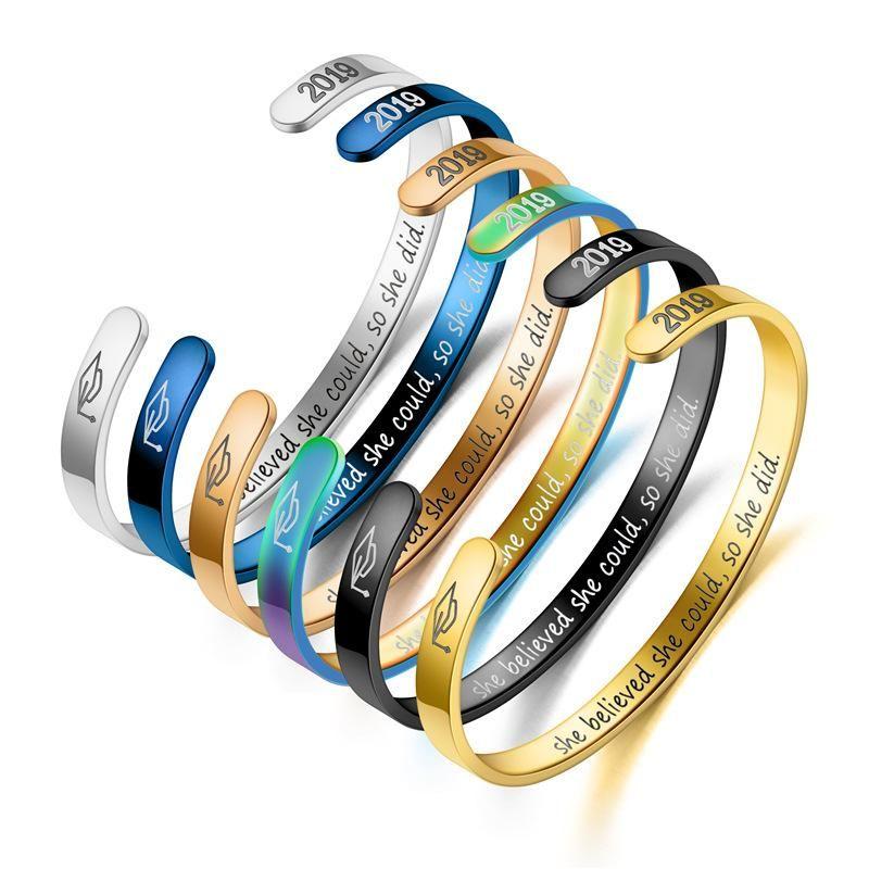 Graduated titanium steel C-shaped doctor hat bracelet NHTP130044