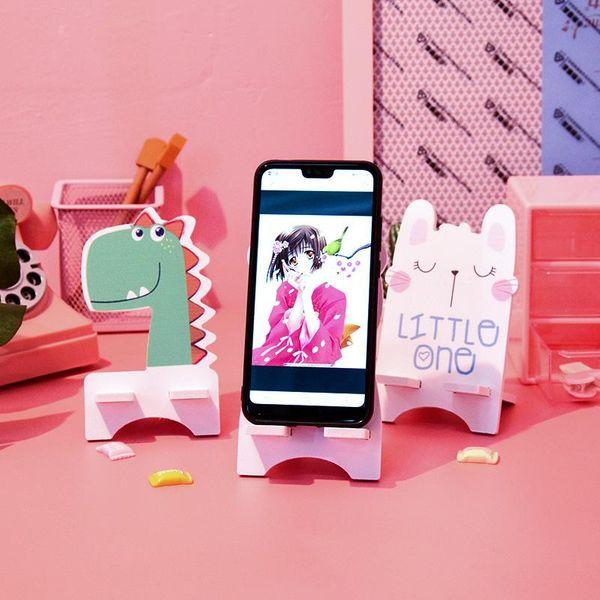 Creative cartoon portable wooden lazy mobile phone holder NHHE130129