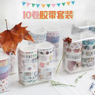 Cute color printing vintage material tape spree NHHE130193's discount tags