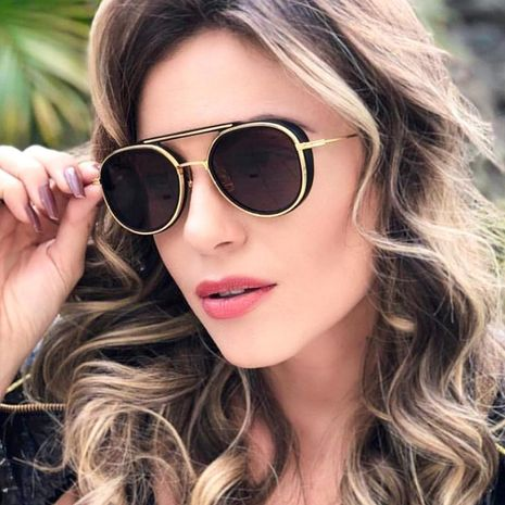 Vintage round frame metal punk sunglasses NHFY130206's discount tags