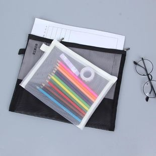 Fashion transparent grid A4A5 zipper file bag information bag NHHE130259's discount tags