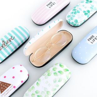 Creative small fresh art retro youth PU glasses case NHHE130276's discount tags