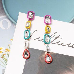 Womens Geometric Rhinestone Alloy Earrings NHJJ125246's discount tags