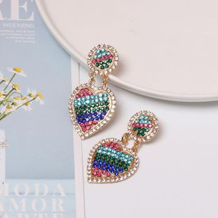 Womens Heart-Shaped Rhinestone Alloy Earrings NHJJ125267's discount tags