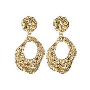 Womens Geometry Electroplating Groove hollow Alloy Earrings NHBQ125309's discount tags